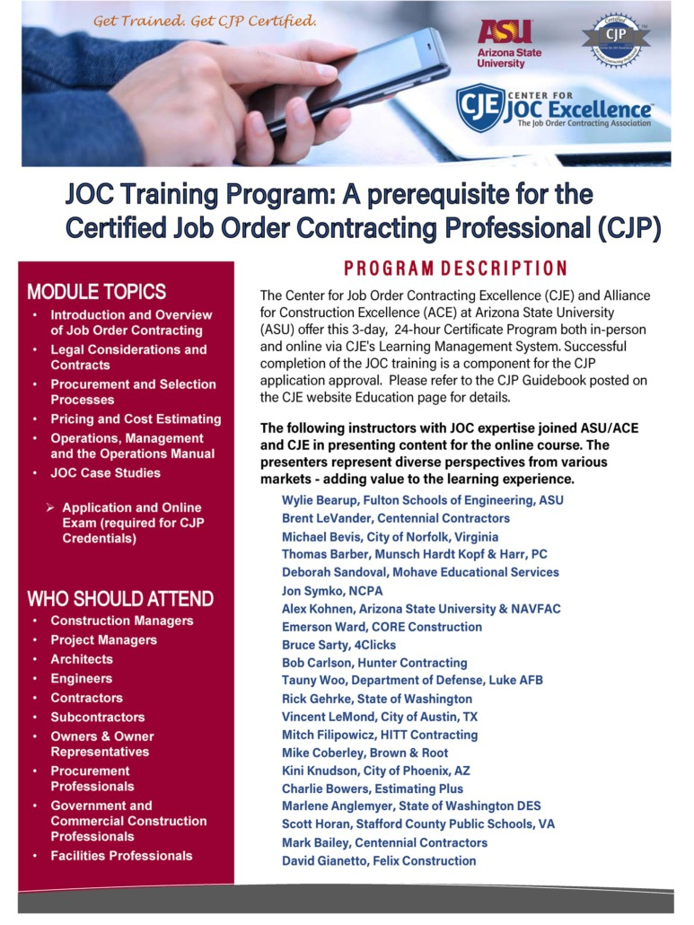 Joc Certification Center For Job Order Contracting Excellence